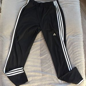 Classic Adidas 3 White Strip Black Athletic Pants